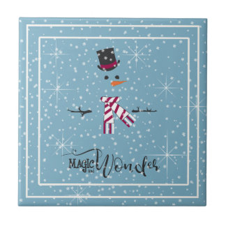 Magic and Wonder Christmas Snowman Blue ID440 Tile