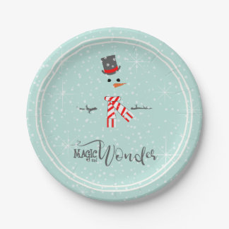 Magic and Wonder Christmas Snowman Mint ID440 Paper Plate