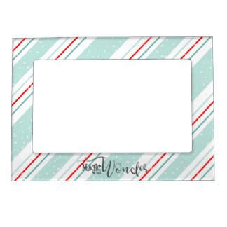 Magic and Wonder Christmas Stripes Mint ID440 Magnetic Frame