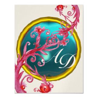 MAGIC BERRIES 4,MONOGRAM blue aquamarine gold Personalized Invite