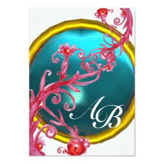 MAGIC BERRIES 4,MONOGRAM red agate 13 Cm X 18 Cm Invitation Card