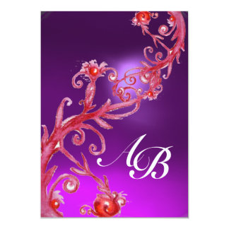 MAGIC BERRIES 4,MONOGRAM red amethyst 13 Cm X 18 Cm Invitation Card