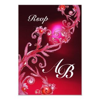 MAGIC BERRIES 4,MONOGRAM red burgundy rsvp Announcement