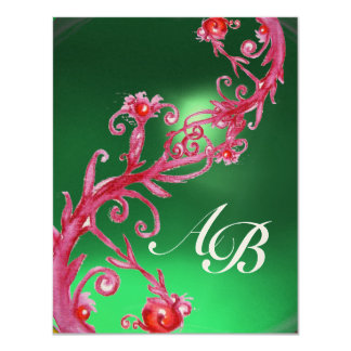 MAGIC BERRIES 4,MONOGRAM red jade gold 11 Cm X 14 Cm Invitation Card