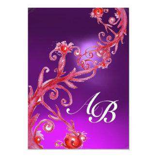 MAGIC BERRIES 4,MONOGRAM red purple white Custom Invites