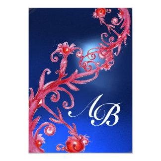 MAGIC BERRIES 4,MONOGRAM red sapphire ice 13 Cm X 18 Cm Invitation Card