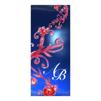 MAGIC BERRIES 4,MONOGRAM red sapphire ice 10 Cm X 24 Cm Invitation Card