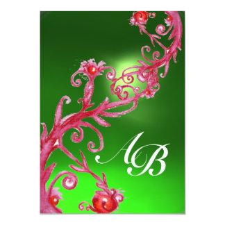MAGIC BERRIES,MONOGRAM emerald green red Card
