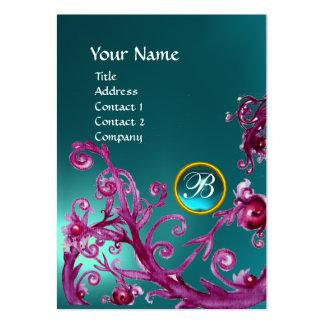 MAGIC BERRIES MONOGRAM GEM aquamarine blue Business Card Templates
