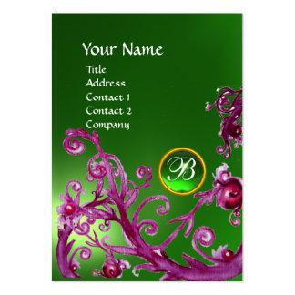 MAGIC BERRIES MONOGRAM GEM emerald green Business Card Template