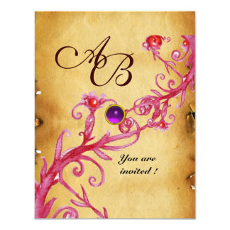 MAGIC BERRIES  MONOGRAM  Parchment Purple Amethyst 11 Cm X 14 Cm Invitation Card