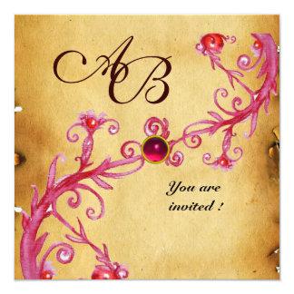 MAGIC BERRIES  MONOGRAM  Parchment Red Ruby 13 Cm X 13 Cm Square Invitation Card