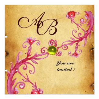 MAGIC BERRIES  MONOGRAM  Parchment Yellow Topaz 13 Cm X 13 Cm Square Invitation Card