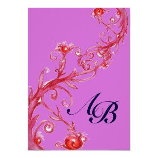 MAGIC BERRIES,MONOGRAM red purple 13 Cm X 18 Cm Invitation Card