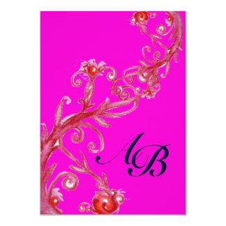 MAGIC BERRIES,MONOGRAM red purple fuchsia black 13 Cm X 18 Cm Invitation Card