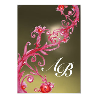 MAGIC BERRIES MONOGRAM red purple grey white 13 Cm X 18 Cm Invitation Card