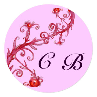 MAGIC BERRIES,MONOGRAM red purple Invitation