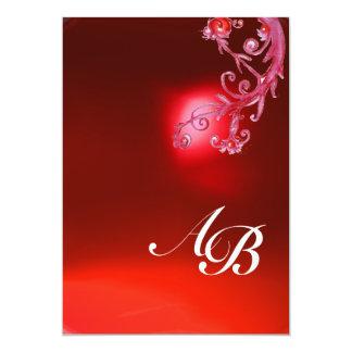 MAGIC BERRIES,MONOGRAM red ruby fuchsia white Personalized Invitations
