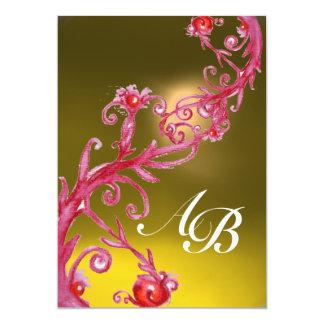 MAGIC BERRIES,MONOGRAM  topaz 13 Cm X 18 Cm Invitation Card