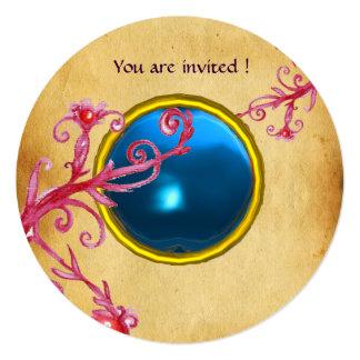 MAGIC BERRIES PARCHEMENT GEM blue sapphire 13 Cm X 13 Cm Square Invitation Card