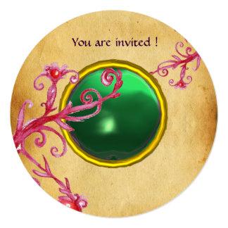 MAGIC BERRIES PARCHEMENT GEM green emerald 13 Cm X 13 Cm Square Invitation Card