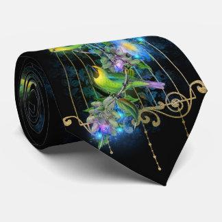 Magic Bird Collage Cage Blue Black Neck Tie