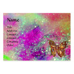 MAGIC BUTTERFLY IN GOLD,BLUE PURPLE TEAL SPARKLES PACK OF CHUBBY BUSINESS CARDS