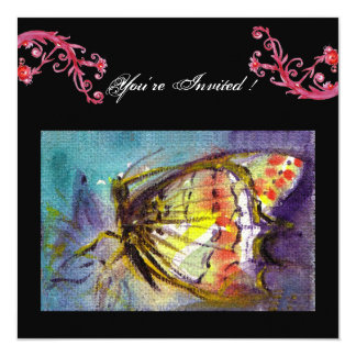 MAGIC BUTTERFLY WITH RED FLORAL SWIRLS ,black blue 13 Cm X 13 Cm Square Invitation Card