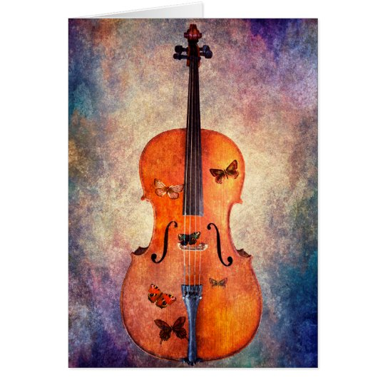 Magic cello with butterflies card