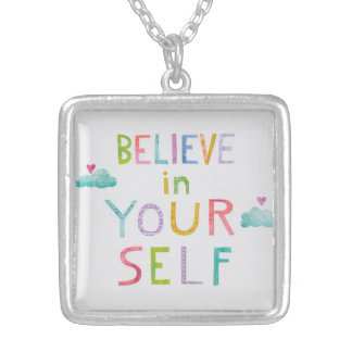 Magic Clouds Believe in Yourself Silver Plated Necklace