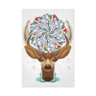 Magic Cute Forest Deer with flourish spring symbol Canvas Print
