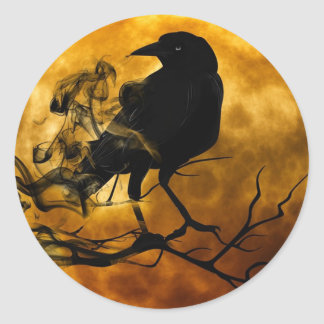 Magic Dark Raven on Harvest Moon Halloween Sticker