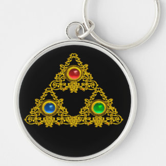 MAGIC ELFIC TALISMAN,BLACK GOLD TRIANGLE,GEMSTONES Silver-Colored ROUND KEY RING