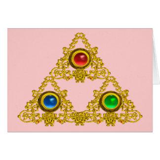MAGIC ELFIC TALISMAN /GOLD TRIANGLE WITH GEMSTONES CARDS