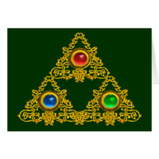 MAGIC ELFIC TALISMAN /GOLD TRIANGLE WITH GEMSTONES GREETING CARD