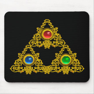 MAGIC ELFIC TALISMAN /GOLD TRIANGLE WITH GEMSTONES MOUSEPAD