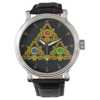 MAGIC ELFIC TALISMAN /GOLD TRIANGLE WITH GEMSTONES WRIST WATCH