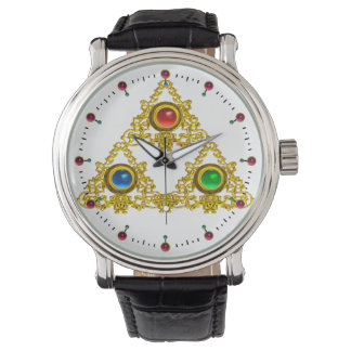 MAGIC ELFIC TALISMAN /GOLD TRIANGLE WITH GEMSTONES WRIST WATCHES