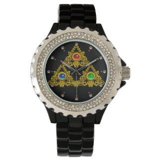 MAGIC ELFIC TALISMAN /GOLD TRIANGLE WITH GEMSTONES WRISTWATCH
