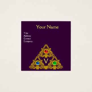 MAGIC ELFIC TALISMAN MONOGRAM, Gold Purple Fantasy Square Business Card