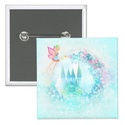 Magic Fairy Tale Princess Castle Square Button