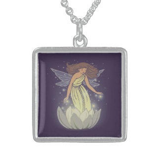 Magic Fairy White Flower Glow Fantasy Art Square Pendant Necklace
