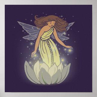 Magic Fairy White Flower Glow Fantasy Art Poster