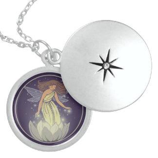 Magic Fairy White Flower Glow Fantasy Art Round Locket Necklace