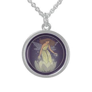 Magic Fairy White Flower Glow Fantasy Art Round Pendant Necklace
