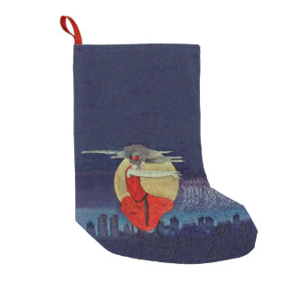 Magic Floating Woman Moon Night Sky Witch Small Christmas Stocking