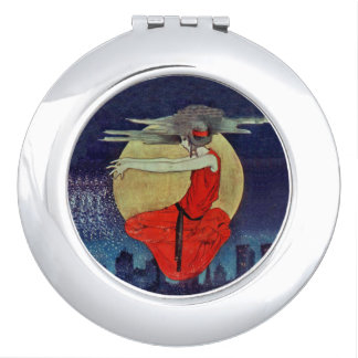 Magic Floating Woman Moon Night Sky Witch Vanity Mirror