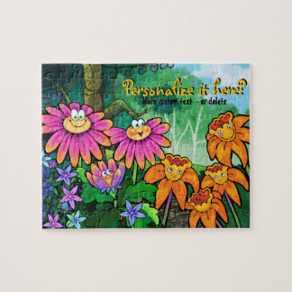 Magic Flower Garden Personalize Text Jigsaw Puzzle