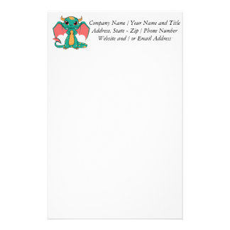 Magic Flying Dragon - Cute Smile Personalized Stationery