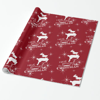 Magic Flying Reindeer Christmas (red) Wrapping Paper